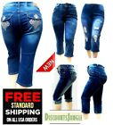 NEW WOMEN'S PLUS SIZE Stretch premium BLUE denim jeans CAPRI