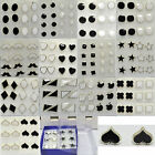 6 / 8 Pair White&Black Fashion Design Heart Star Shape Plastic Ear stud Earring