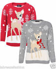 New Kids Girls Boys Deer Boucle Knitted Christmas Jumper Top