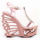 Pink/Silver T-Bar Bride Wedding Wedge Butterfly Heel Sandals UK Size 2.5/3/4/5/6