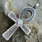 Egypt Celtic Ankh Cross of life Acrylic AB Crystal Rainbow April pewter pendant