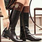 MICHAEL KORS $325 STOCKARD LEATHER BLACK MOCHA 6M WIDE CALF BOOTS 40F3ADMB9L NEW