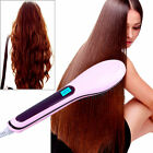 EU/US/UK 2 IN 1 Electric Hair Straightener Comb LCD Ion Brush Auto & Manual Tool