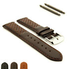 Cross Stitched Genuine Leather Watch Strap Band Vinci SS Buckle Spring Bars