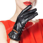 Women's Winter Warm Genuine Lambskin Leather Gloves For Women Lady Black Mittens