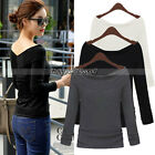 Hot New Women's Clothing Sexy Off Shoulder Long Sleeve Slim T-Shirt Tops Blouse