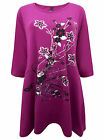 IVANS MAGENTA/BLACK/WHITE FLORAL  ASYM HEM TUNIC DRESS - PLUS SIZE 16-30/32
