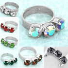 Faceted Inlaid Crystal Rhinestone Three Stone Cocktail Finger Ring Adjustable