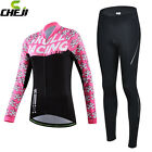 New 2016 Skull Women Long Sleeve Jersey Pants Set Cycling Clothing Ropa Jacket