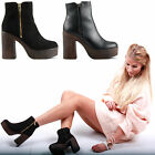 WOMENS LADIES GOLD ZIP BLOCK HIGH WOODEN PLATFORM HEEL PARTY ANKLE BOOTS SIZE