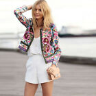 Fashion Womens Lady Casual Floral Slim Blazer Jacket Suit Coat Long Sleeve Top