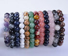 10mm Fashion round gemstone beads stretchable bracelet 7""