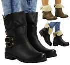 NEW WOMENS LADIES LOW HEEL FLEECE LINING WINTER FLAT HIGH WORK ANKLE BOOTS SIZE