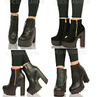 Ladies Womens Mid High Platform Chelsea Ankle Boots Cleated Block Heel Shoe Size
