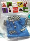 "Blue Coat for TY Beanie Baby (or other 6"" Plush) Outfit Checkered Collar Buttons"