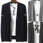 Mens Luxury Slim Fit Sleeve Tape Cardigan Sweater Knit Jacket Jumper E039 - S/M