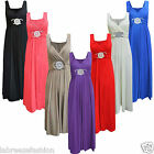 LADIES GIRLS WOMEN BRIDESMAID SLEEVELESS COCKTAIL EVENING PROM BUCKLE MAXI DRESS
