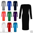 LADIES GIRLS WOMENS LONG SLEEVE STRETCH BODYCON PLAIN JERSEY MIDI MAXI DRESS