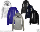 Ladies Women's Plain Zip Hoodie Fleece Hood Hooded Zipper Top Jacket Sizes 6-14