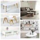 Scandinavian White Retro Furniture Side Coffee Nest Tables with Solid Oak Legs