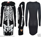 Women's Celeb Jesy Nelson Halloween Skeleton Print Bodycon Mini Dress