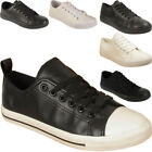 New Mens Womens Lace Up Faux Leather Traiers Pumps Sneakers Shoes Sizes Uk 6-11