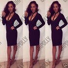 Womens Sexy Harness Neck Bodycon Plunge Cocktail Party Evening Ladies Midi Dress