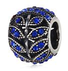 Sterling Silver 925 European Charm Sparkling Leaves Sapphire Blue Bead 99282