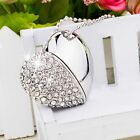 8G/16G/32G/64G Heart Shape Crystal Jewelry USB Flash Drive Necklace Memory Stick