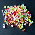 10 & 500 MULTI-COLOURED ALPHABET LETTER A-Z ACRYLIC CUBE BEADS Size 6mm