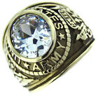 Clear Stone US Army Military Gold EP Mens SS Ring