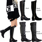 WOMENS LADIES THIGH HIGH OVER THE KNEE BOOTS PARTY STRETCH BLOCK MID HEEL SIZE