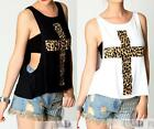 AU STOCK SEXY PUNK HIPPY ROCK LEOPARD CORSS SINGLE TANK TOP TEE VEST T115