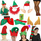 New Unisex Elf Print Christmas Hat Ear Shoes Stocking Fancy Dress Accessories