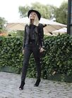 Karen Millen Black Signature Quilted Leather Biker Jacket Coat 8 36 New £295