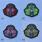 EMBROIDERED SEW IRON ON PATCH SUGAR SKULL ROSE BIKER MULTICOLORED T-SHIRT CAP  A