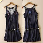 Women's Solid Dark Blue Sleeveless Vest Skirt All Match V-neck Vest Dress