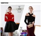 Runway Halter Off Shoulder Women Romantic Ladylike Pullover Sweater 9257