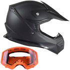 Youth Kids Motocross Helmet Offroad Matte Black Orange Goggles ATV Dirtbike DOT