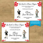 Personalised Wedding Save The Date Evening Cards Football Bride & Groom 12 Cols