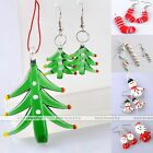 Set Murano Lampwork Glass Xmas Tree Sock Candy Cane Pendant Earrings Jewellery