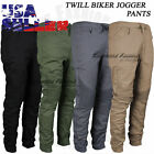 Jogger Pants Twill Biker Moto Casual Slim Stretch Elastic Harem Trousers Mens