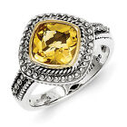 Citrine Ring Bezel Set .925 Silver w/ 14K Gold Accent Size 6 - 8 Shey Couture
