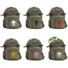 Vintage Army Style Olive Green Canvas Backpack Bag w/ Punisher Skull Ring Logo