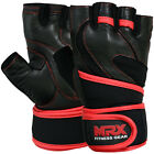 MRX Leather Weight Lifting Gym Training Gloves Fitness Exercise Long Wrist Strap