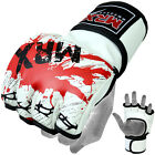 MRX MMA Grappling Gloves UFC Cage Kick Boxing Fight Punch Glove Blood White Red