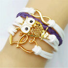 New Fashion Women Infinity Jewelry Girls Leather Wrap Bangle Frendship Bracelet