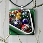 BILLIARD GAME COLORED BALLS SQUARE PENDANTS NECKLACE MEDIUM OR LARGE -yvn9Z