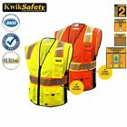 Class 2 Reflective Safety Vest Clear ID pocket D-ring Military Grade ALL SIZES