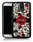 PERSONALIZED RUBBER CASE FOR SAMSUNG S4 S5 S6 ELEGANT RED BLACK FLOWERS